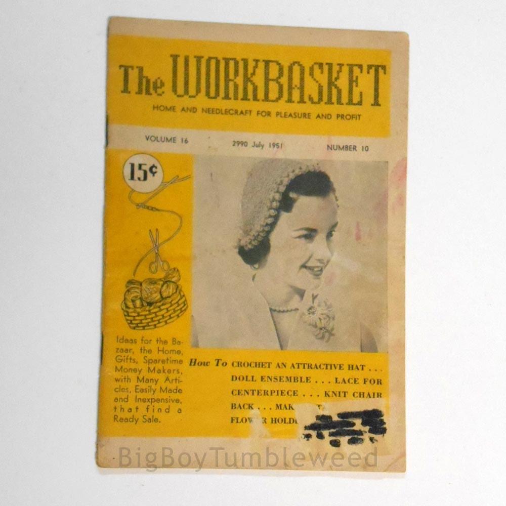 On sale vintage july 1951 workbasket magazine crochet knit hat sold by bigbvintage bankloansurffo Choice Image