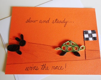 Handmade Quilled Tortoise and Hare Greeting Card, Blank Inside