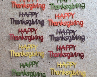 10 Happy Thanksgiving Die Cuts in Fall Colors for Paper Crafts