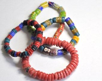 Recycled African glass beads,Krobo bead bracelet (6 Dollars each)