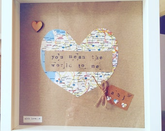 Handmade personalised frame 'you mean the world to me'