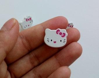 100 cute hello kitty wooden shank buttons