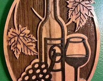 Bottle of Wine Plaque
