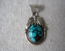 Turquoise Pendant, Bisbee, Sterling Vintage Native American signed by Mario D.