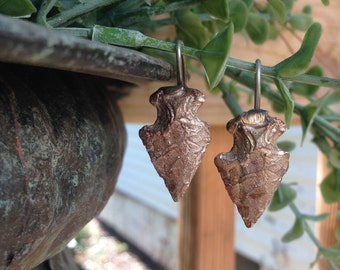 Silver Arrowhead drop earrings