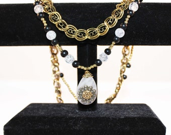 Double Gold Beaded Necklace