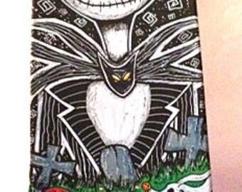 Skateboard Art–Nightmare Before Christmas Painting-Jack Skellington–Halloween Décor-Skateboard Deck Art