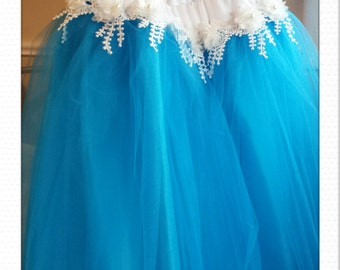 turquoise n lace tulle skirt