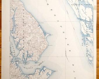 Antique Chesapeake Bay Maryland 1905 Us Geological Survey Topographic Map Solomons Island Drum
