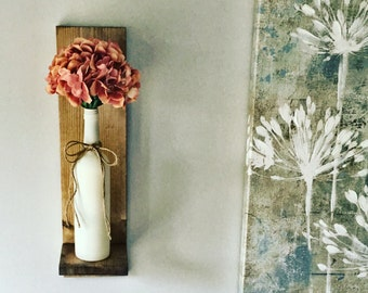Wine Bottle Wall Vase Hydrangea, Rustic Decor, Farmhouse Decor