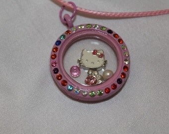 Hello Kitty Inspired Floating Locket Necklace Set