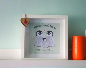 Personalised Penguin family Framed print - New Home/Christmas/Birthday/love heart
