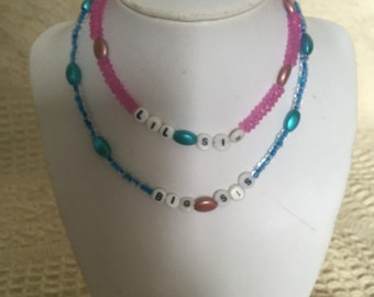Big Sis & Lil Sis beaded necklaces