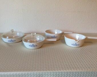 Vintage Corningware Cornflower Saucepan Set