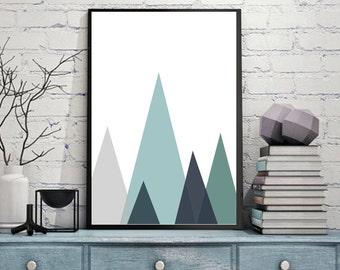 Modern Triangle Mountain Like Canvas Wall Art Print Poster