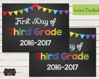 First Day of School, First Day of School Sign, Last Day of School, Last Day of School Sign, First Day of Third Grade, Third Grade