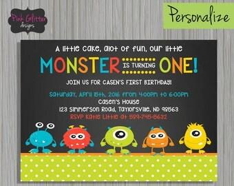 Monster Invite, Monster Invitation, Monster Party, Monster Birthday, First Birthday, Monster First Birthday, Monster, Digital File, First