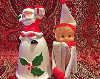Retro Vintage Christmas Elf and Santa Bell Duo
