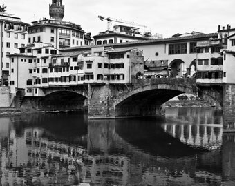 Black and White Print, Florence, Ponte Vecchio, Firenze, Ponte Vecchio Bridge, Italy, Architecture Print, Framed and Mounted Print
