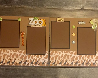 Zoo Scrapbook Pages, 12x12 Premade Scrapbook Pages, Scrapbook Layout, Premade Zoo Layout