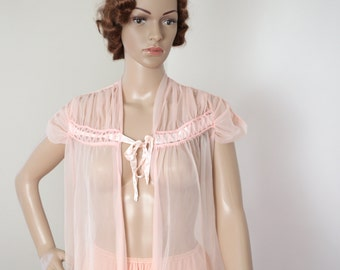 Pink Bed Jacket 1950s 1960s Lingerie Pajamas Women's