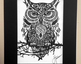 "Original Framed Owl Pen Hand Drawing 4""x6"" - Ink Drawing"