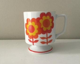 Vintage Mug Flower Power Hippie Orange Flower Pedestal Coffee Mug