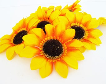 "Lot of 25 Sunflowers Artificial Silk Flowers Big Yellow Sunflower Rustic Wedding measuring 6"" Floral Hair Accessories DIY Wedding Flower"