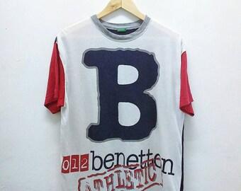 Hot Sale!!! Rare Vintage 90s BENETTON ATHLETIC Big Logo Spell Out Multicolour T-Shirt Hip Hop Swag Medium Size