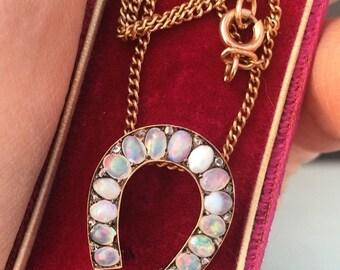 Lucky 5.05ct Antique Art Nouveau Horseshoe Necklace