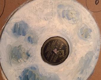 WhiteBlueYellow Moon Painted on 78 Vinyl
