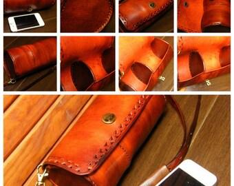 round bag/shoulder bag/Custom made/customized/portable bag/hand tooled/hand made/hand carving/ /vintage handbag/personalized/casual