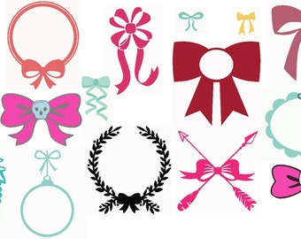 14 Bows and Frames Set Embroidery Designs 4x4 PES