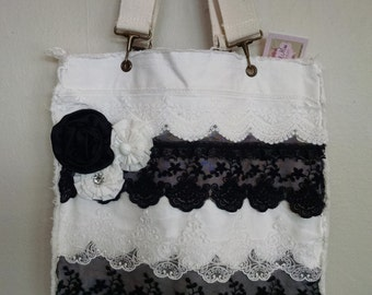 White and Black Vintage tote