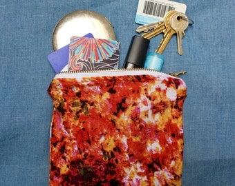 Floral Melange Viscose Jersey - Small Zippered Pouch / Coin Purse