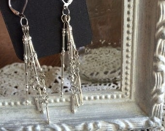 Silver Chandelier Dangle Earrings
