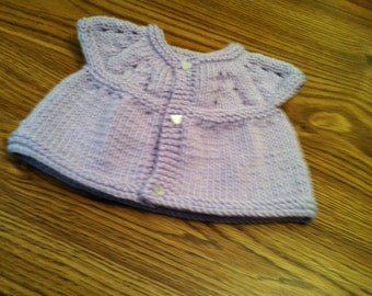 Baby Sweater Lavendar with Heart shaped buttons