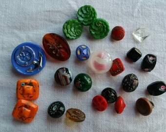 Collection of petite/tinies vintage glass buttons