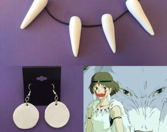 Princess Mononoke Necklace and Earring set - San Necklace for Princess Mononoke Costume - Ghibli Movie, bone tooth necklace