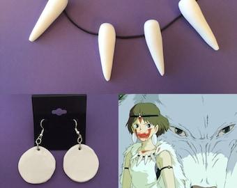 Princess Mononoke Necklace and Earring set - San Necklace for Princess Mononoke Costume - Ghibli Movie