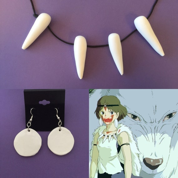 Princess Mononoke Necklace and Earring set