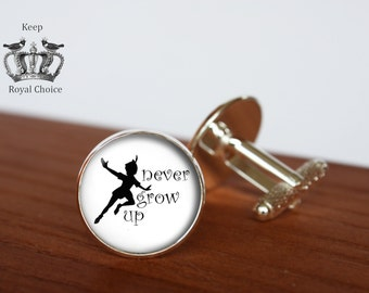 Never Grow Up  pair of cufflinks, Peter Pan inspired cuff links, Tie clip, Personalized Men Wedding Jewelry, gift for dad