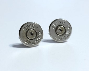 Bullet Jewelry- 40 Caliber Nickel Bullet Stud Earrings