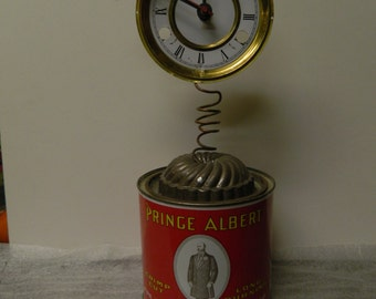 vintage upcycled can made into a funky clock