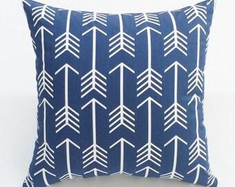 Navy blue & white arrow print designer decorative pillow toss pillow throw pillow cover