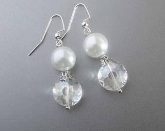 Wedding Pearl Earrings, Bridal crystal Earrings , Dangle Wedding Earrings, Wedding Jewelry