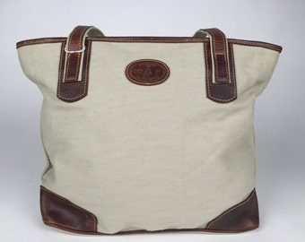 Canvas bag, genuine leather bag, beige canvas leather bag.