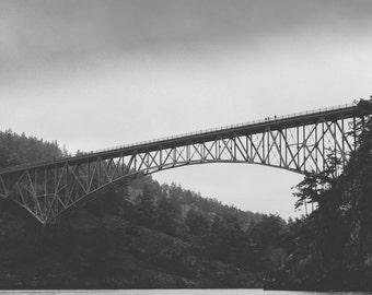 Deception Pass Bridge, Whidbey Island, WA - Black & White Photography Print
