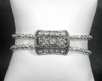 Vintage Inspired Silver Rhinestone Medallion Bracelet