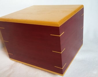 Purple and Yellow Heart Wood Cremation Urn